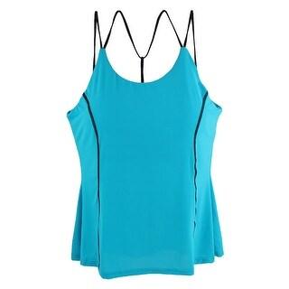 Woman Polyamide Casual Camisole Tank Top Blouse Vest T-Shirt Blue M (US 8)