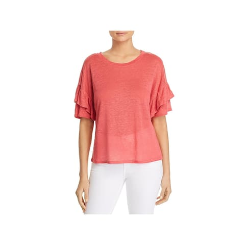 1.State Womens Pullover Top Linen Ruffled