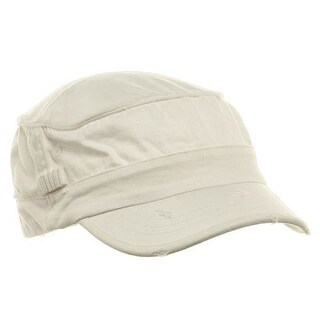 Washed Cotton Fitted Army Cap-White