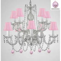 Empress Crystal (TM) Chandelier Lighting with Pink Crystal Balls and Pink Shades!