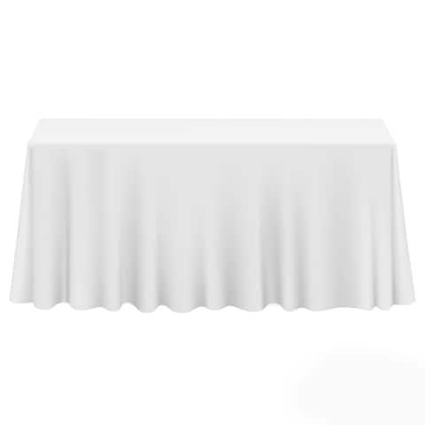 "90 x 132"" 10-Pack Premium Rectangular Polyester Tablecloths - White"