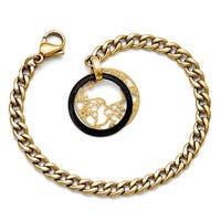 Chisel Stainless Steel/Ceramic Polished/Laser Cut Yellow IP-plated Bracelet