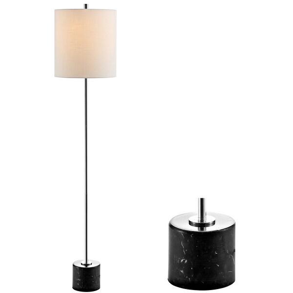 "Levitt 60.5"" Marble/Metal LED Floor Lamp, Black/Chrome by JONATHAN Y - 60.5"" H x 13"" W x 13"" D. Opens flyout."