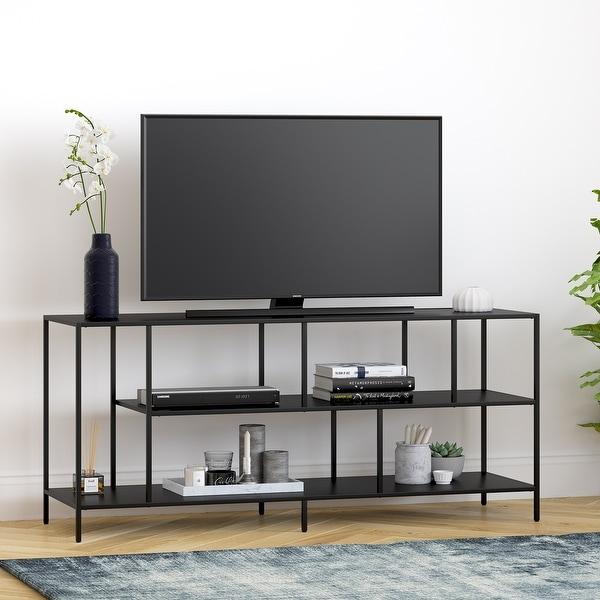 Winthrop Three Shelf TV Stand in Blackened Bronze. Opens flyout.