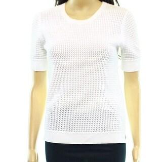Theory NEW White Crochet Open-Stitch Women's Medium M Crewneck Sweater