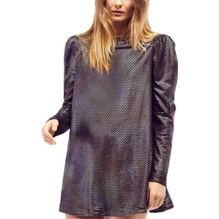 Free People Womens Diamonds Are Forever Mini Dress Metallic Textured