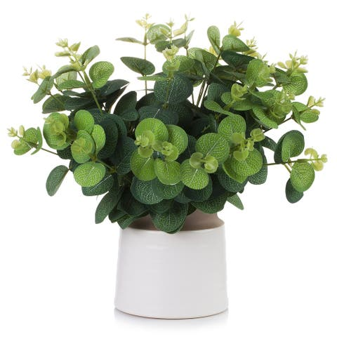 Enova Home High Quality Artificial Eucalyptus Grasses Topiary Fake Plants in Ceramic Pot for Home Office Garden Decoration