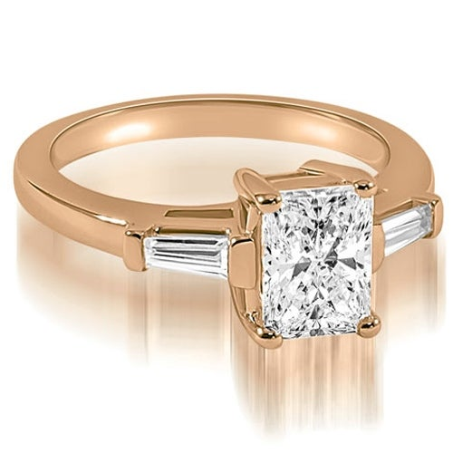 1.25 cttw. 14K Rose Gold Emerald Baguette Three Stone Diamond Engagement Ring