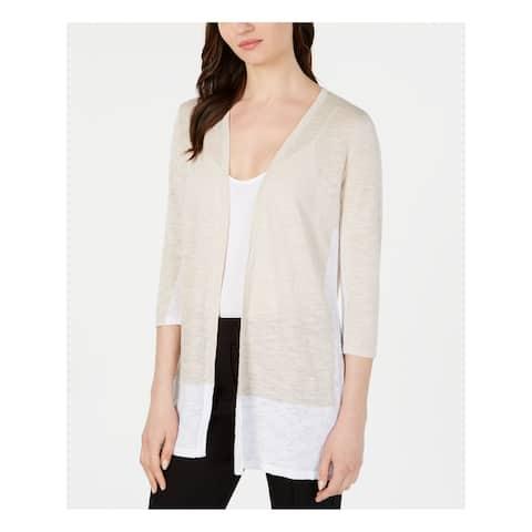 ALFANI Womens Beige Color Block 3/4 Sleeve Sweater Size M