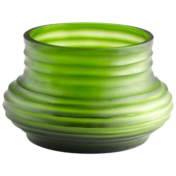 "Cyan Design 09214 Leo 8-1/2"" Diameter Glass Vase - Green"