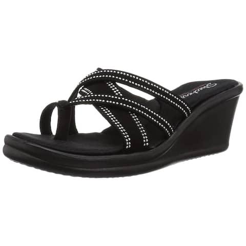 fc82604017e6 Skechers Women s Rumblers-Cali Spell-Studded Multi Strap Slide With Memory  Foam Wedge Sandal
