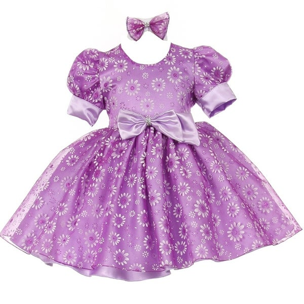 Baby Girls Lilac Floral Puffed Sleeve Satin Bow Special Occasion Dress 6-24M