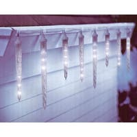 10 Clear LED Dripping Icicle Christmas Lights – 12 ft White Wire