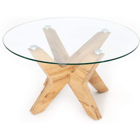Round Glass Coffee Table with Wood Frame 32inch