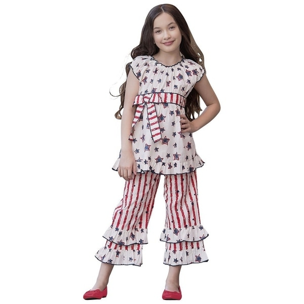 f33731b0dc93e Shop AnnLoren Little Girls Red 4th Of July Star Stripe Tunic 2 Pc Capri  Outfit - Free Shipping On Orders Over $45 - Overstock - 20183373