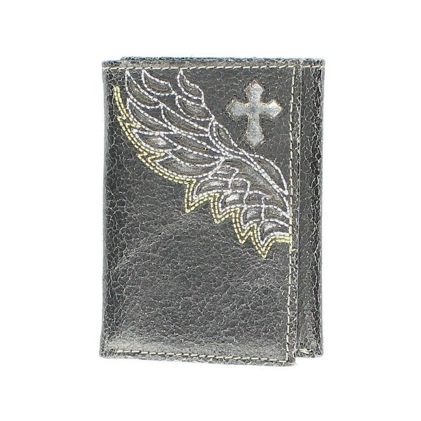 Nocona Western Wallet Mens Leather Trifold Cross Wings Black - One size