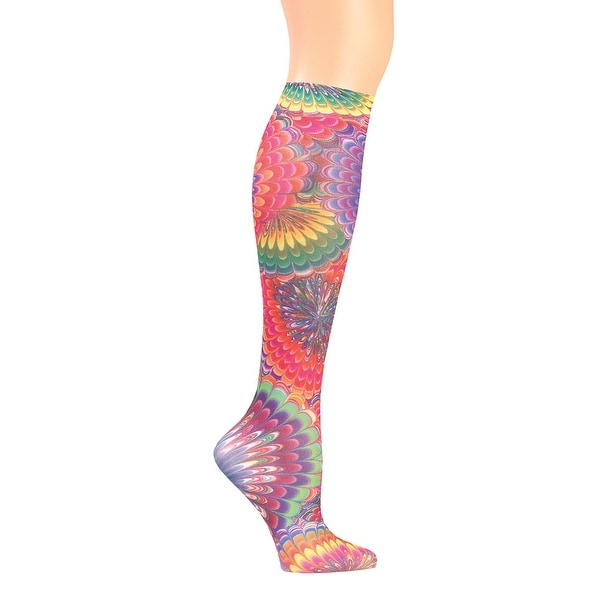 Women's Wide Calf Printed Moderate Compression Knee Highs - Tie Dye - regular