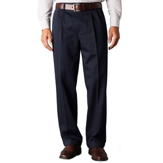 Dockers D4 Relaxed Fit Pleated Front Chinos Pants Navy Blue 34W x 36L - 34