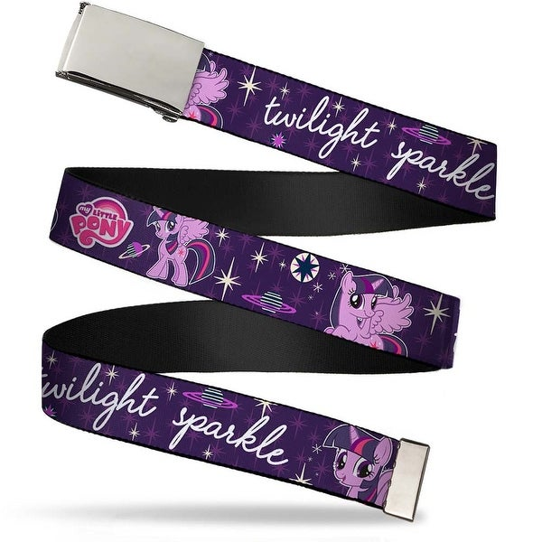 Blank Chrome Buckle Twilight Sparkle Poses Stars & Planets Aqua Pink Web Belt