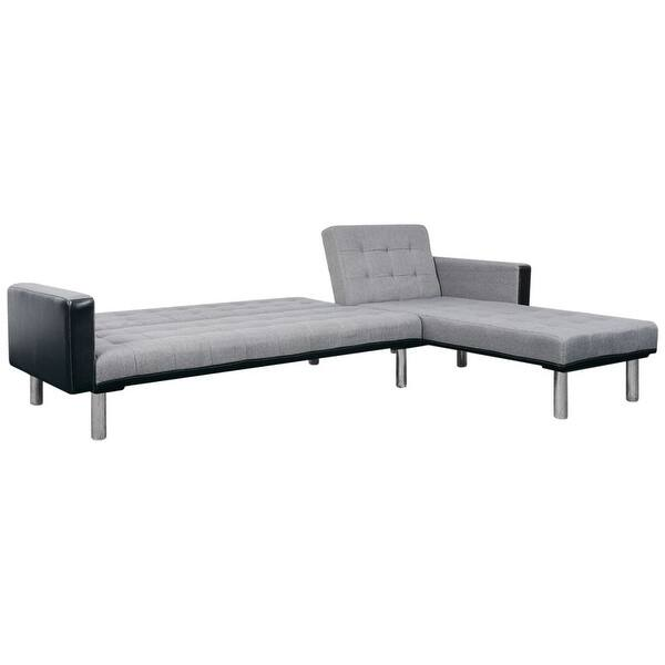 Shop vidaXL L-shaped Sofa Bed Fabric Black and Gray - Free ...