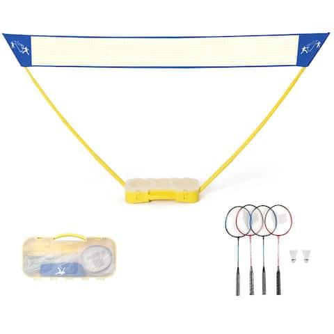 Gymax Portable Badminton Set Folding Tennis Badminton Volleyball Net w/ Stands Case
