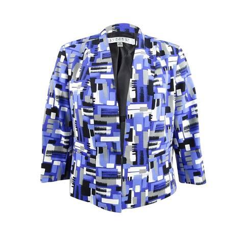 Kasper Women's Printed Collarless Jacket (18, Grape Multi)