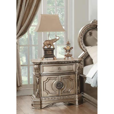 Modern Northville Nightstand with 1 Drawer&Marble Top - Antique Silver