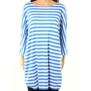 Joan Vass NEW Light Blue Womens Size 16 Striped Boat-Neck Knit Top