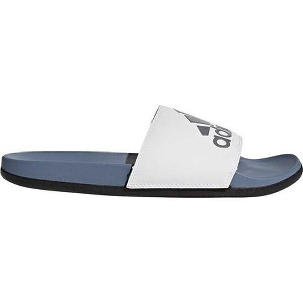 adidas Men  x27 s Adilette Cloudfoam Plus Logo Slide Raw Steel White .  Click to Zoom 2b03fa868acfa