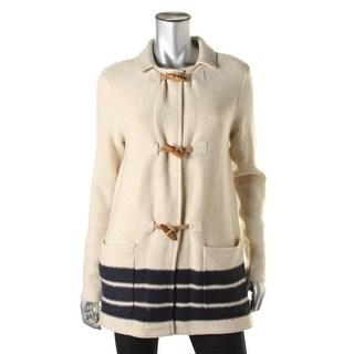 Lauren Ralph Lauren Womens Wool Blend Contrast Trim Cardigan Sweater