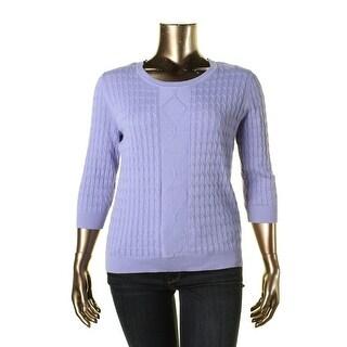 Karen Scott Womens Pullover Top Cable Knit Scoop Neckline
