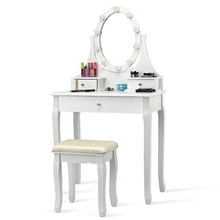 Link to Vanity Makeup Dressing Table Set Lighted Mirror w/ Drawers & LED Bulbs Similar Items in Bedroom Furniture