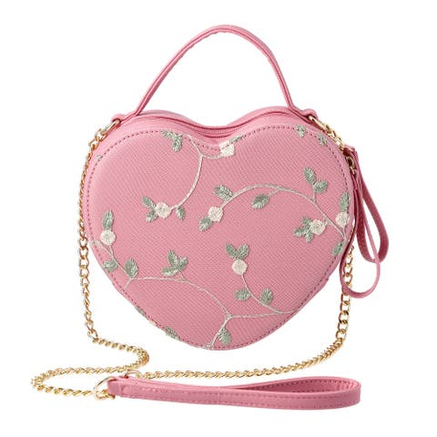 Peach Pink Floral Faux Leather Heart Shape Embroidery Crossbody Bag