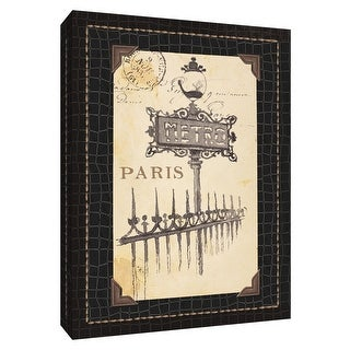 """PTM Images 9-154538  PTM Canvas Collection 10"""" x 8"""" - """"Paris Collage VIII"""" Giclee Text and Symbols Art Print on Canvas"""