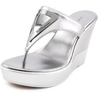 BCBGeneration Quiz Women Open Toe Synthetic Silver Wedge Sandal