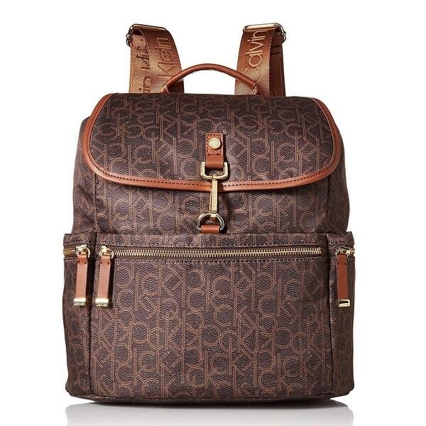 28306bdd7cb Shop Calvin Klein Lianna Nylon Small Clip Backpack Brown/Khaki - One ...