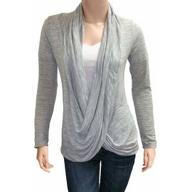 Women's Metallic Light Grey Long Sleeve Criss Cross Cardigan Small to 3XL Made in USA