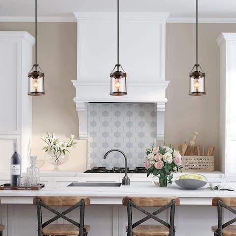 "Modern Farmhouse 1-light Glass Island Pendant Lights for Dining Room - W5.9""xH10"""