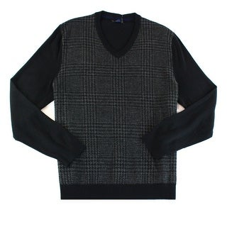 Club Room NEW Black Mens Size XL Houndstooth V-Neck Wool Sweater