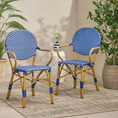 "Paul Outdoor Aluminum French Bistro Chairs (Set of 2) by Christopher Knight Home - 21.50"" L x 22.50"" W x 35.75"" H"