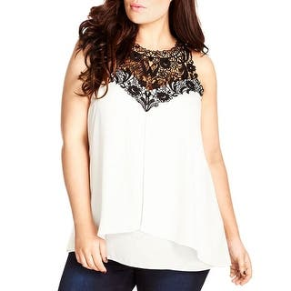 City Chic Womens Plus Tank Top Georgette Lace Inset https://ak1.ostkcdn.com/images/products/is/images/direct/cbd8d1f12e71d92aa46c657e723a42a20e385456/City-Chic-Womens-Plus-Tank-Top-Georgette-Lace-Inset.jpg?impolicy=medium