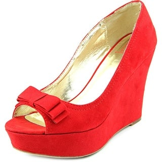 Material Girl Debbie Women Open Toe Synthetic Red Wedge Heel