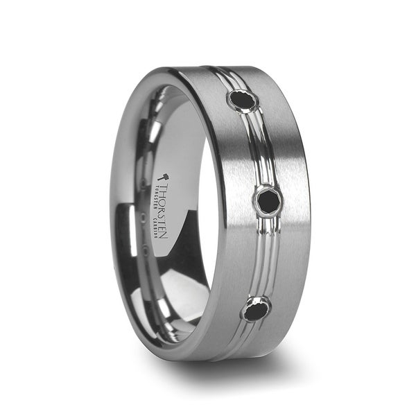 THORSTEN - ROYALE Satin Finished Tungsten Ring with Polished Grooved Center and Triple Black Diamonds