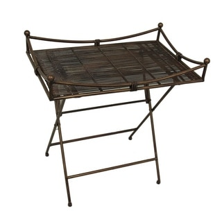 Bronze Finish Spun Wire Folding Metal Accent Table