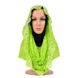 Muslim Lace Hollow Macrame Zircon Scarf Kerchief Hat wine green