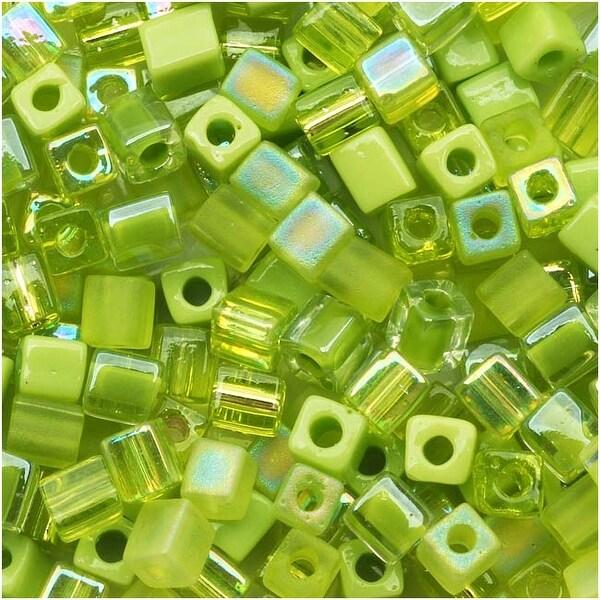 Miyuki 4mm Glass Cube Bead Mix 'Peridot Medley' Green 10 Grams