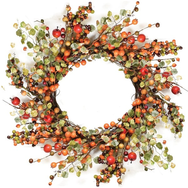 "22"" Autumn Harvest Decorative Artificial Orange and Green Berries with Leaves Wreath - Unlit"