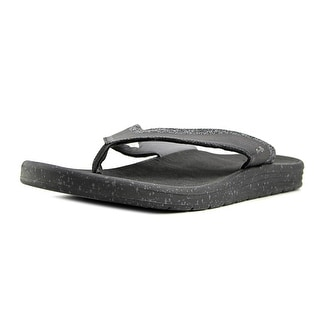Sanuk Compass Men  Open Toe Canvas Black Flip Flop Sandal