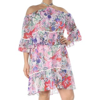 Link to RACHEL ROY Womens Pink Cold Shoulder Printed 3/4 Sleeve Grecian Neckline Above The Knee Blouson Cocktail Dress  Size: 2 Similar Items in Dresses