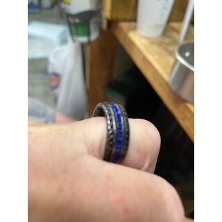Oliveti Men's Black Titanium Faux Sapphire and Zirconia Eternity Ring